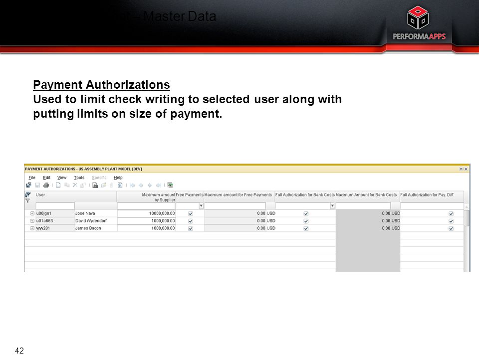 Cash Management – Master Data Payment Authorizations