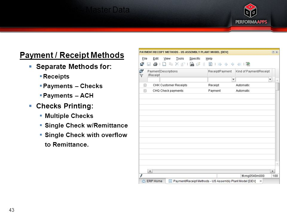 Cash Management – Master Data Payment / Receipt Methods