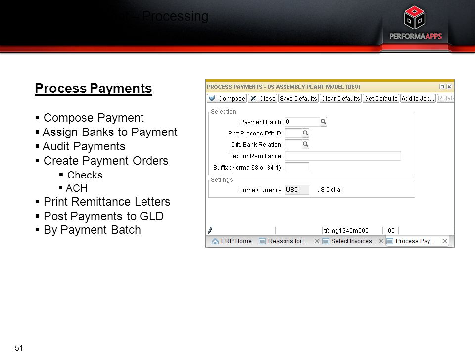 Cash Management – Processing Process Payments