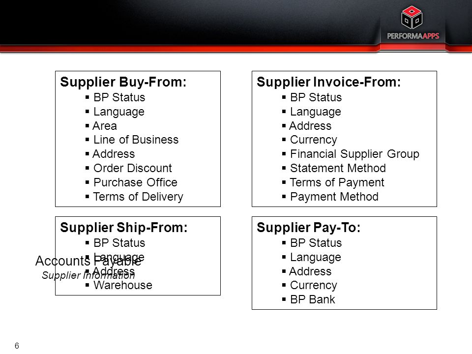 Accounts Payable Supplier Information