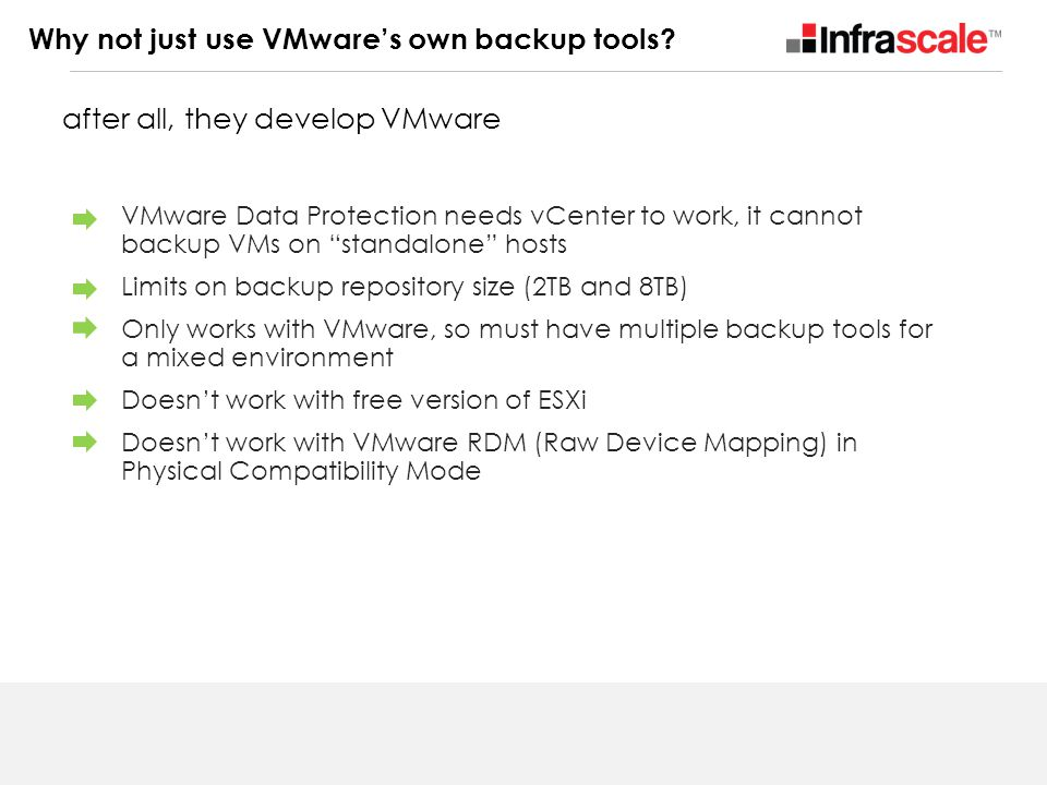 Why not just use VMware's own backup tools