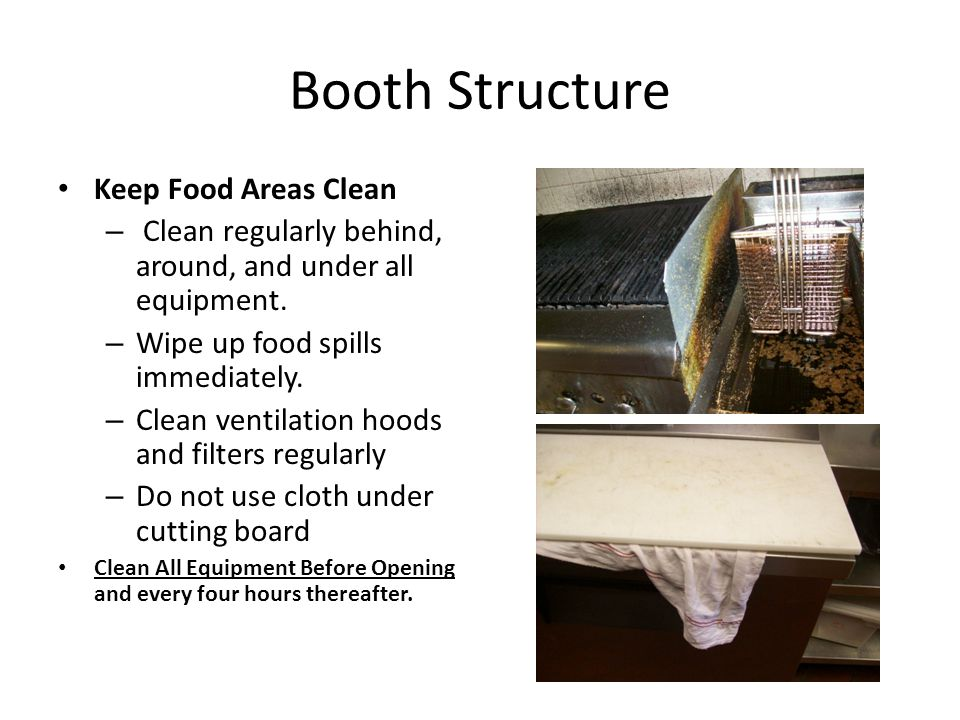 Booth Structure Keep Food Areas Clean