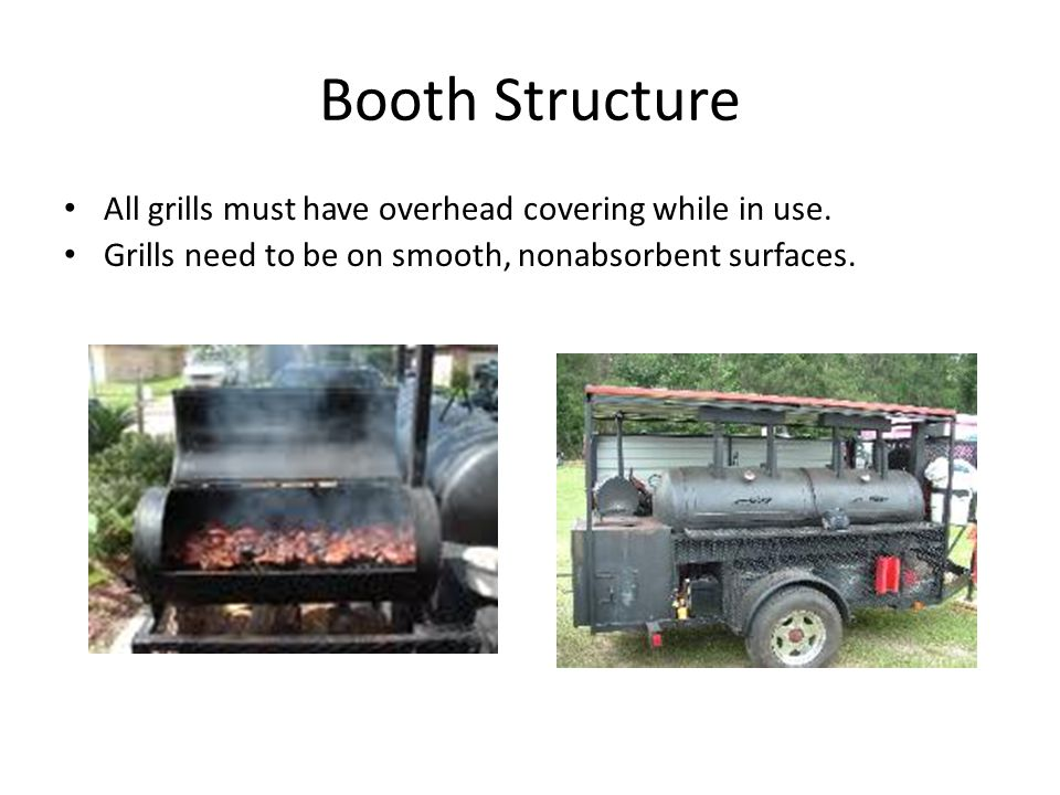 Booth Structure All grills must have overhead covering while in use.