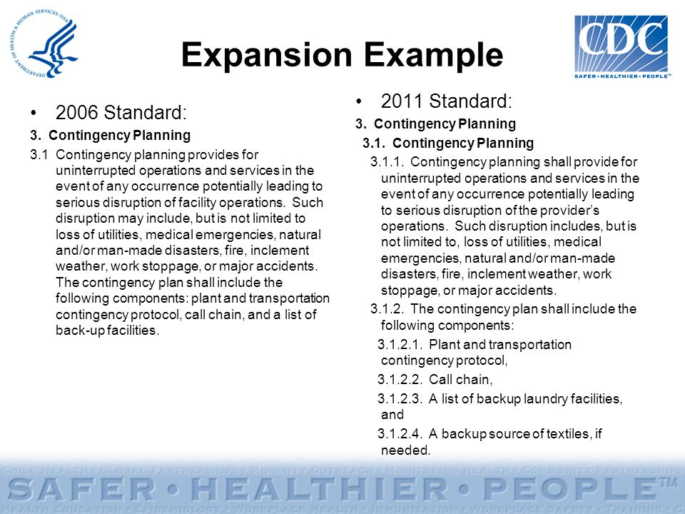 Expansion Example 2011 Standard: 2006 Standard: