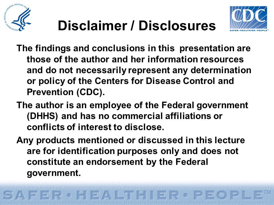 Disclaimer / Disclosures