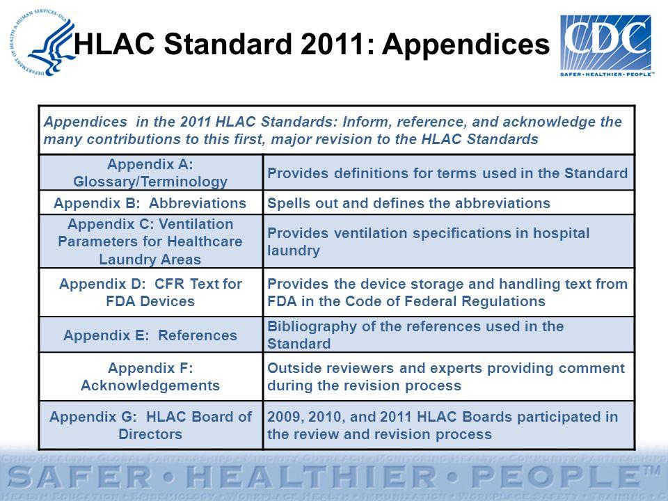 HLAC Standard 2011: Appendices