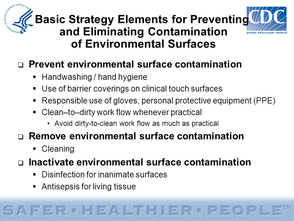 Basic Strategy Elements for Preventing and Eliminating Contamination of Environmental Surfaces