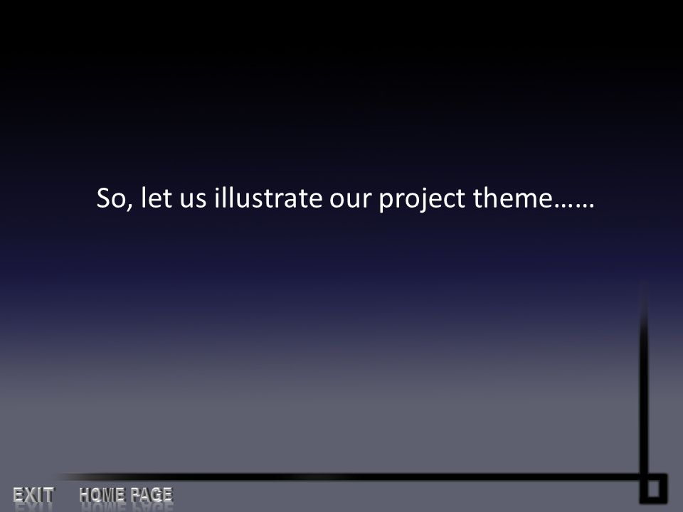 So, let us illustrate our project theme……