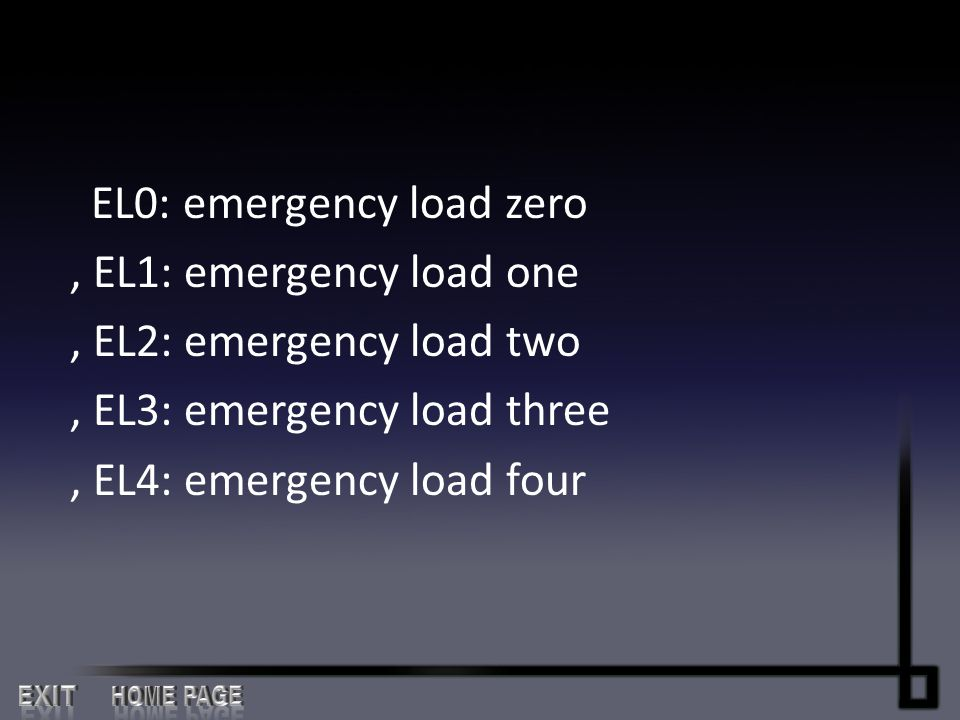 EL0: emergency load zero , EL1: emergency load one , EL2: emergency load two , EL3: emergency load three , EL4: emergency load four