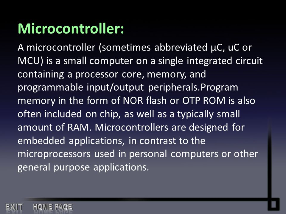 Microcontroller: EXIT HOME PAGE