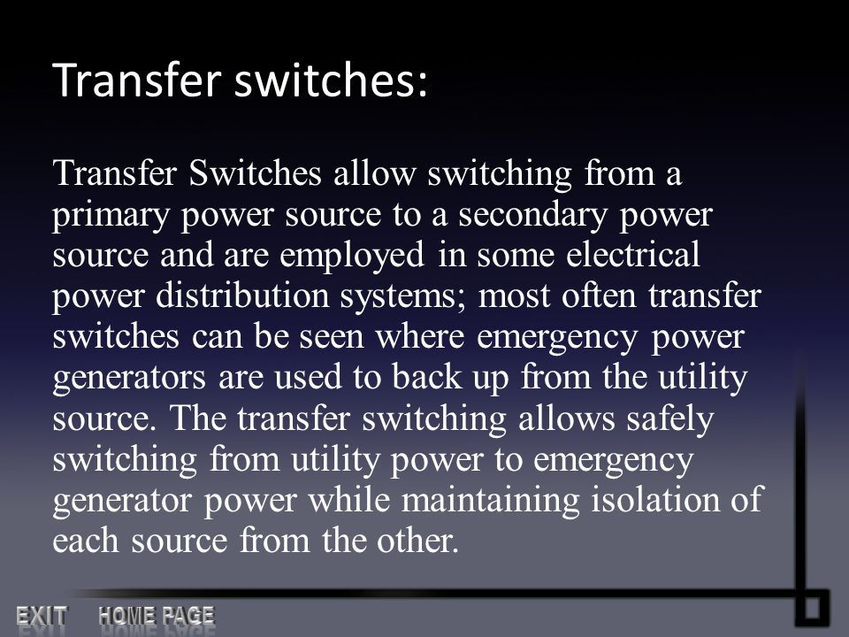 Transfer switches: EXIT HOME PAGE