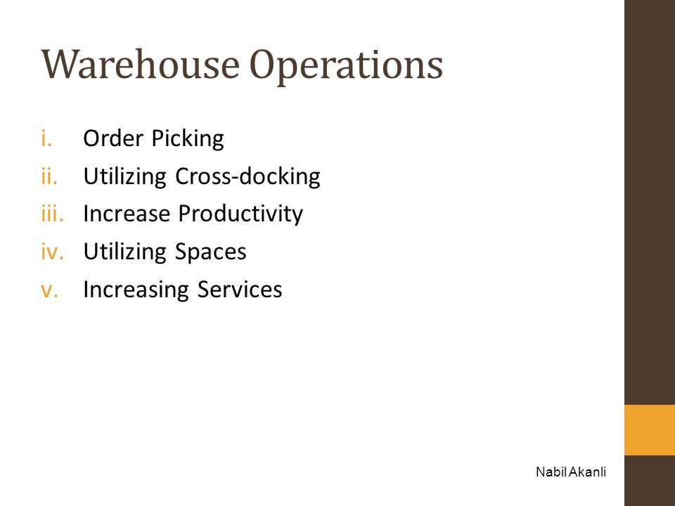 Warehouse Operations Order Picking Utilizing Cross-docking