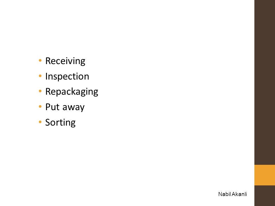 Receiving Inspection Repackaging Put away Sorting Nabil Akanli