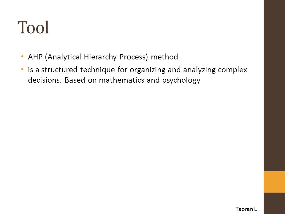 Tool AHP (Analytical Hierarchy Process) method