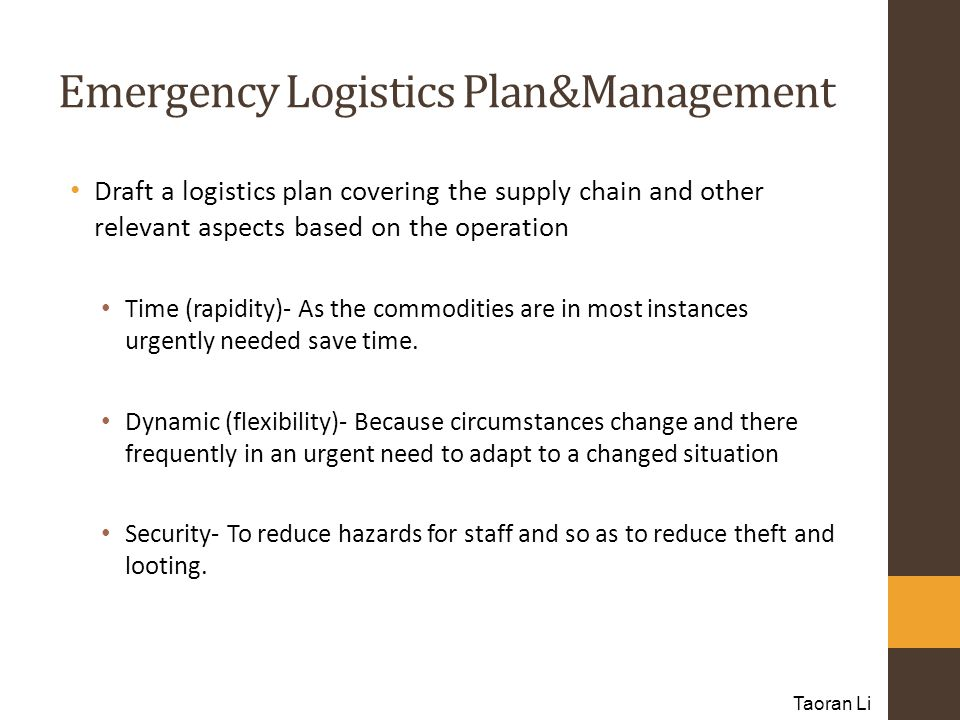 Emergency Logistics Plan&Management