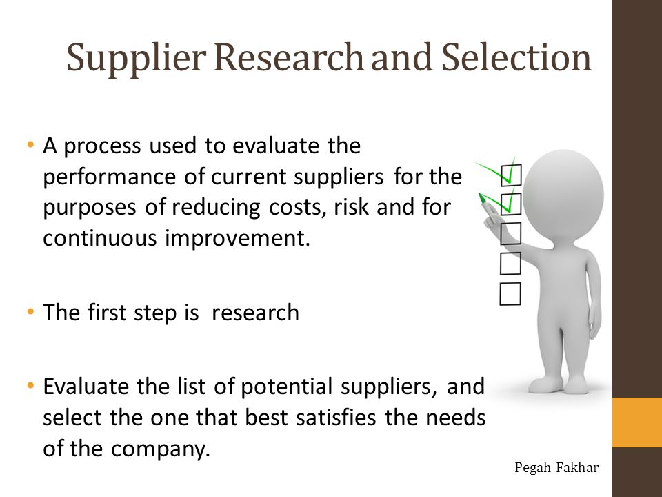 Supplier Research and Selection