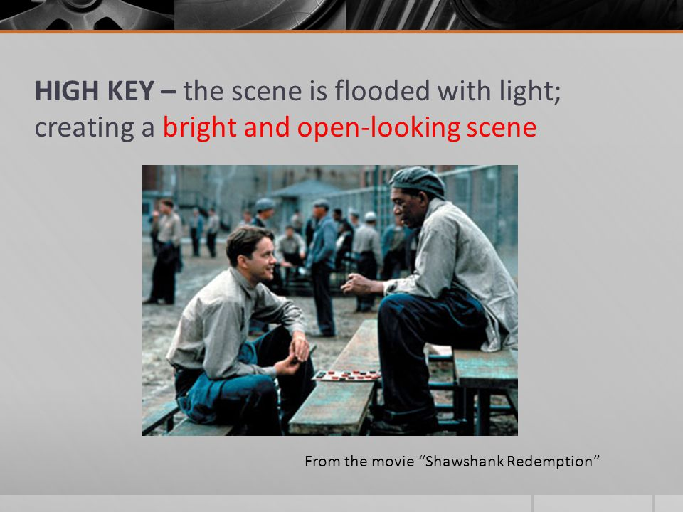 HIGH KEY – the scene is flooded with light; creating a bright and open-looking scene