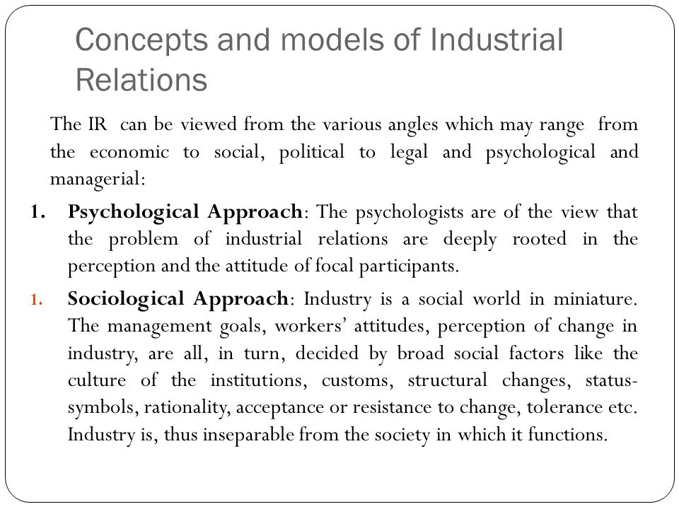Concepts and models of Industrial Relations