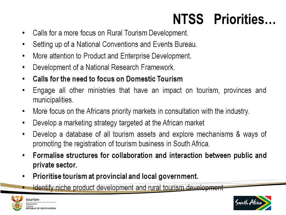 NTSS Priorities… Calls for a more focus on Rural Tourism Development.