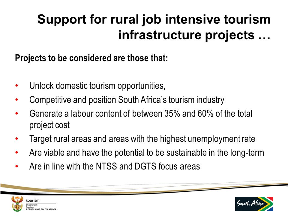 Support for rural job intensive tourism infrastructure projects …