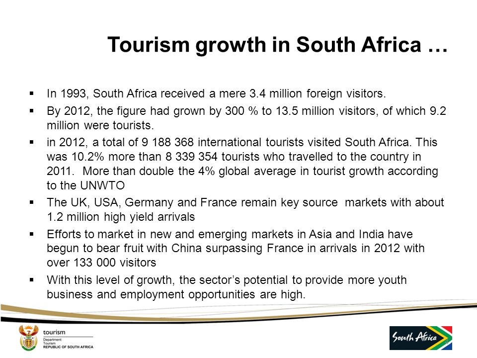 Tourism growth in South Africa …