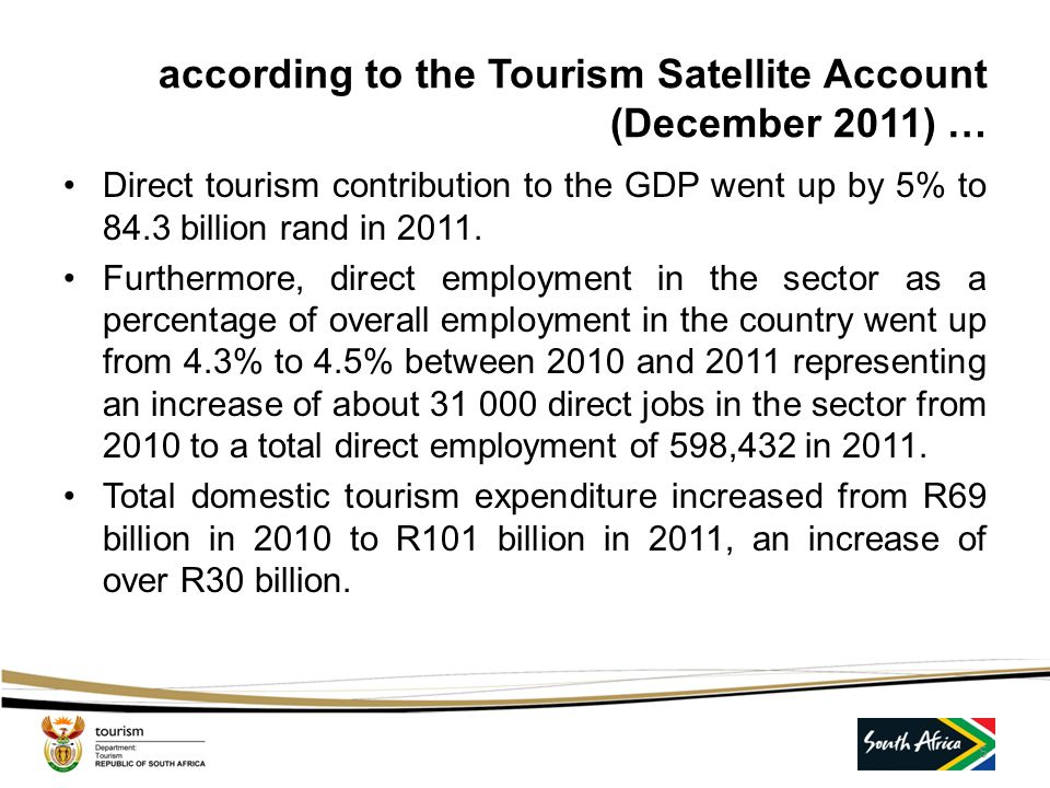 according to the Tourism Satellite Account (December 2011) …
