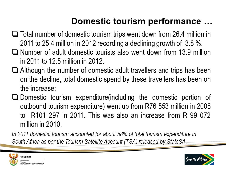 Domestic tourism performance …