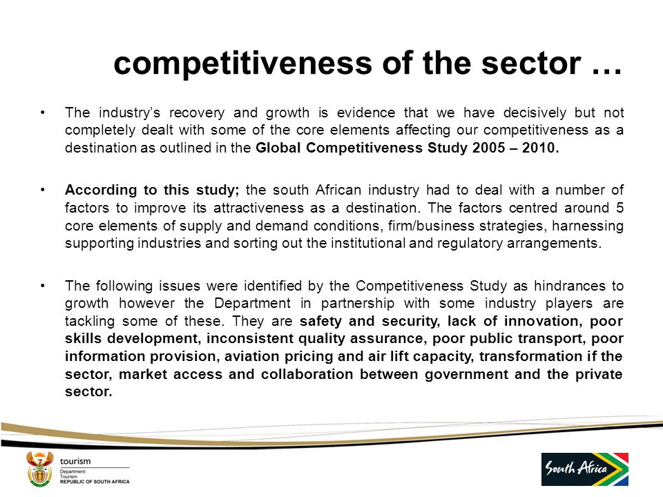 competitiveness of the sector …