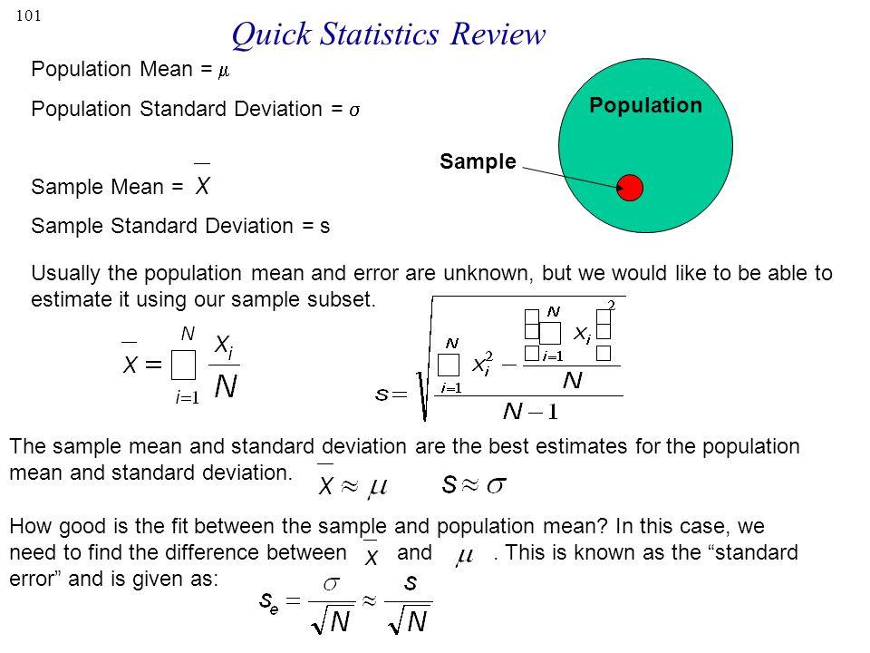Quick Statistics Review