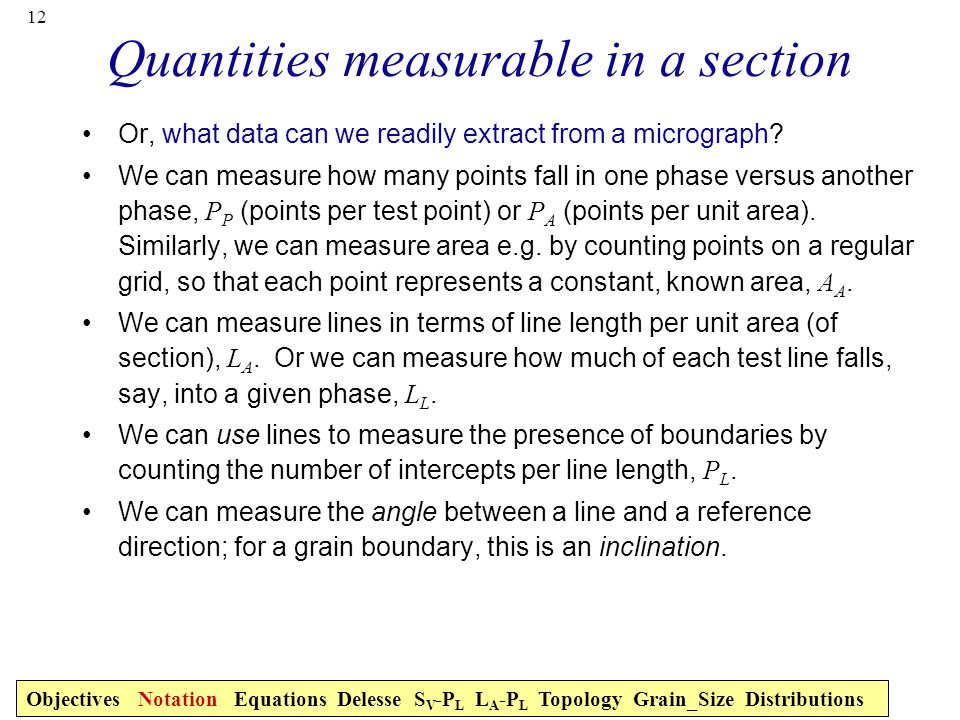 Quantities measurable in a section