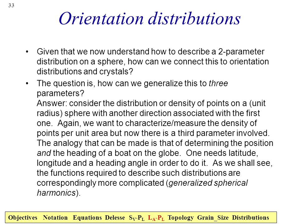 Orientation distributions