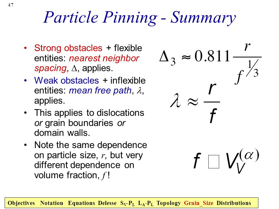 Particle Pinning - Summary