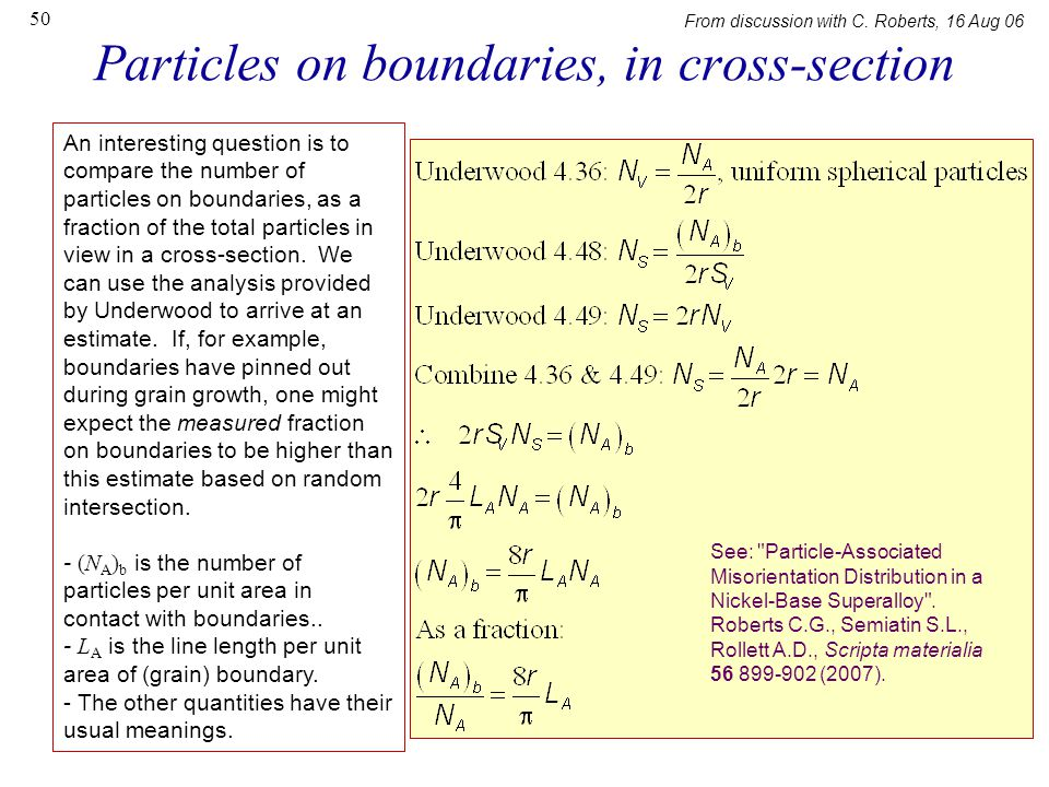 Particles on boundaries, in cross-section