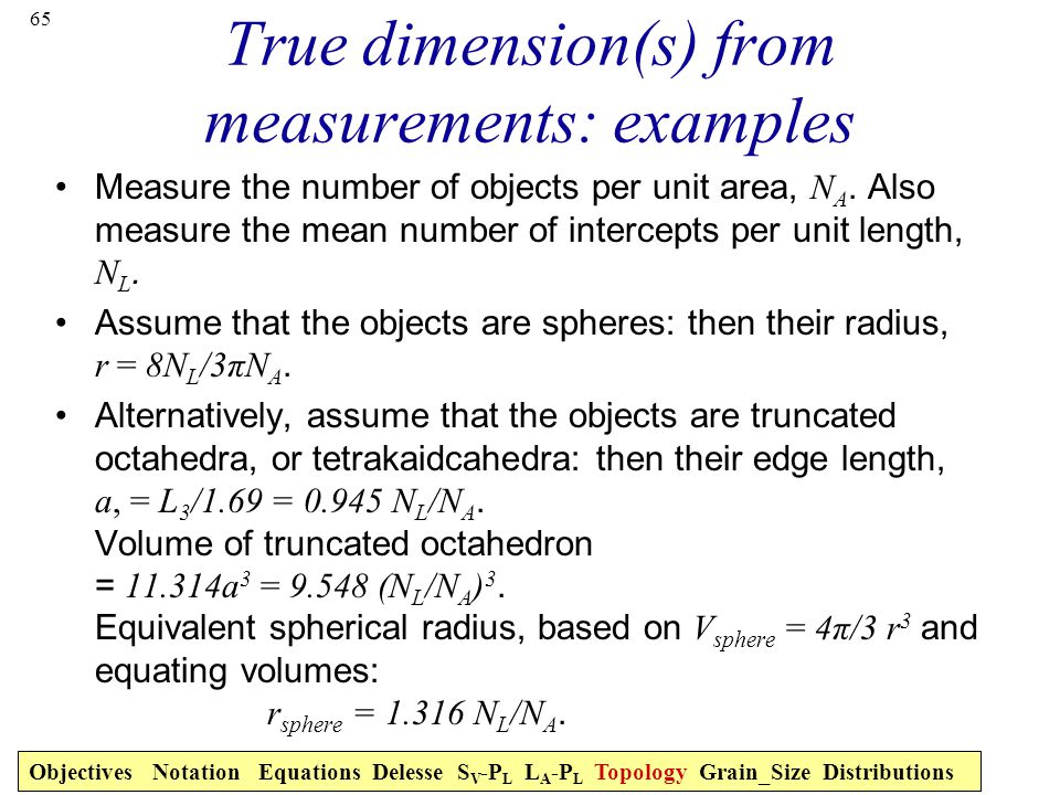 True dimension(s) from measurements: examples