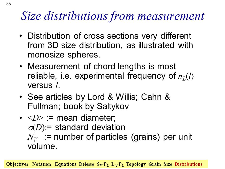 Size distributions from measurement