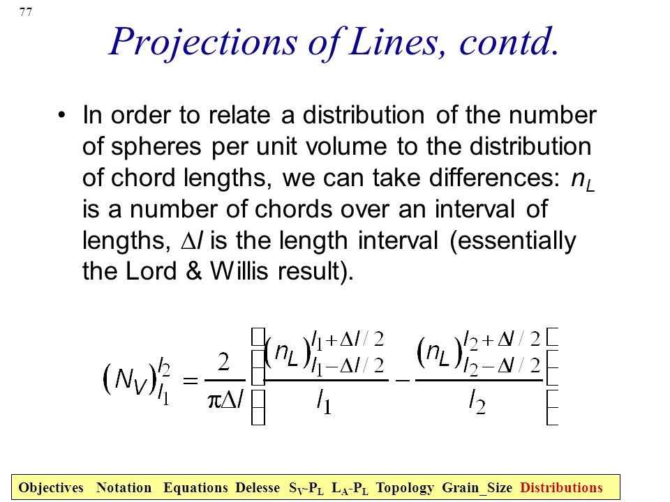 Projections of Lines, contd.