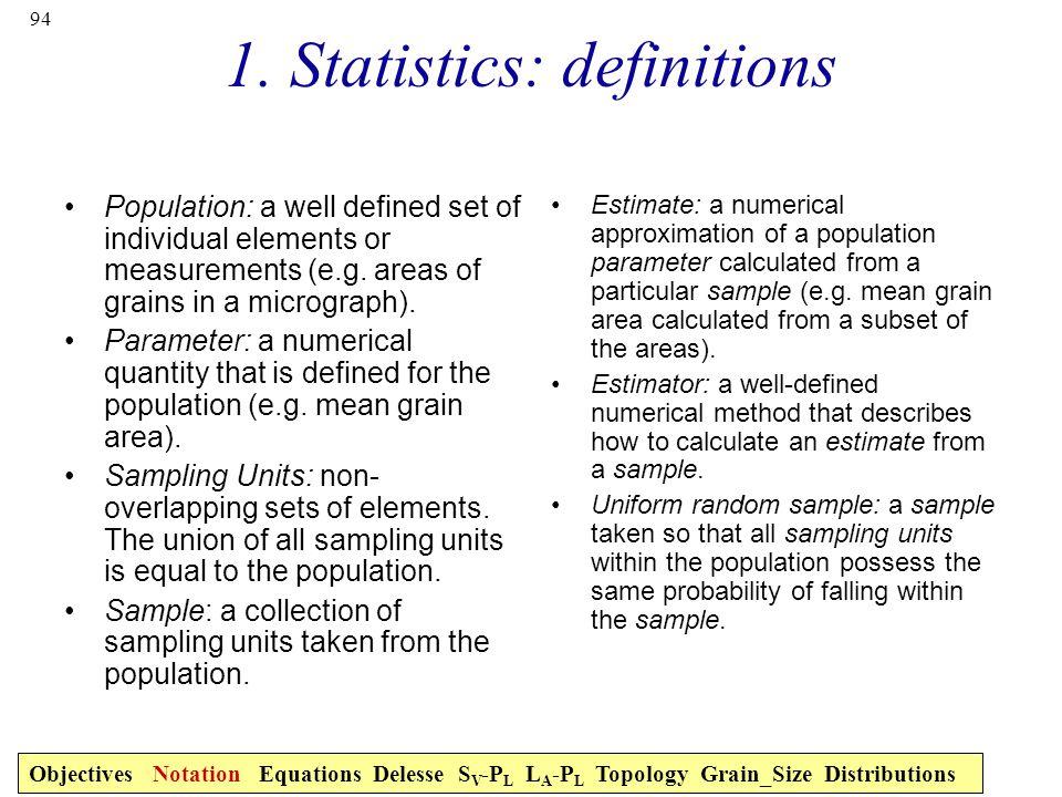 1. Statistics: definitions