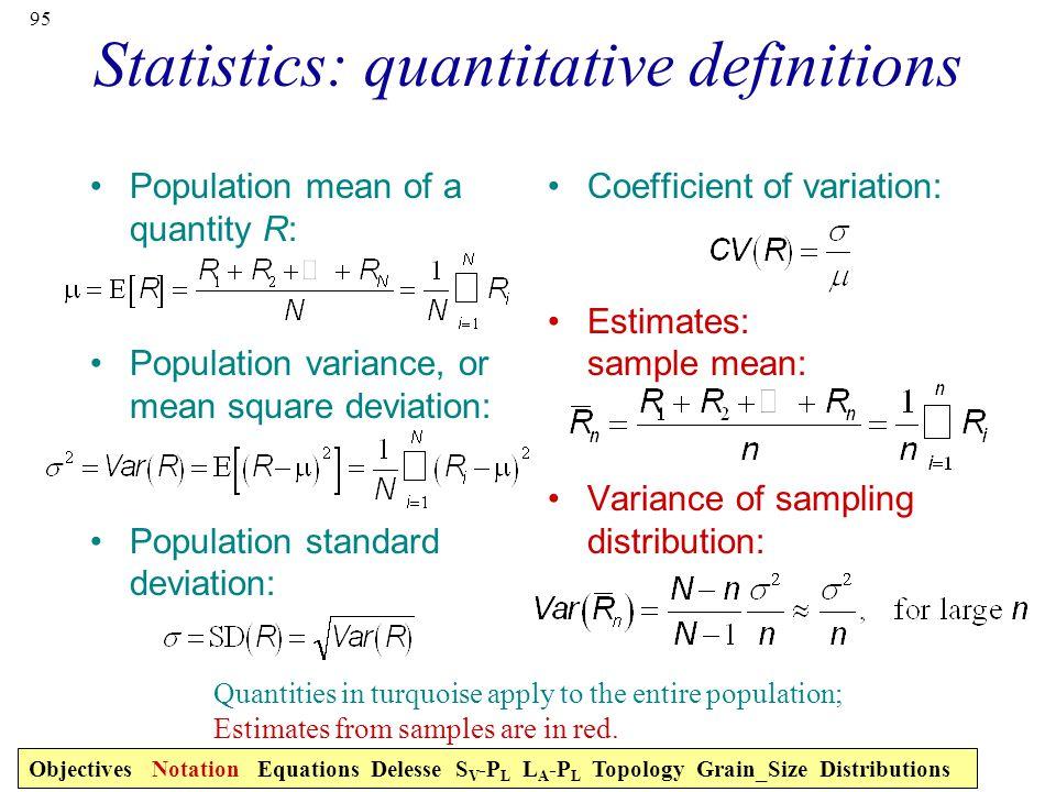 Statistics: quantitative definitions