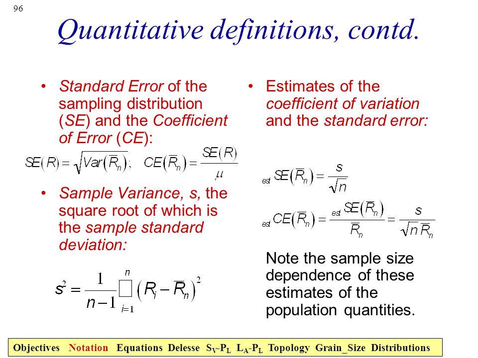 Quantitative definitions, contd.