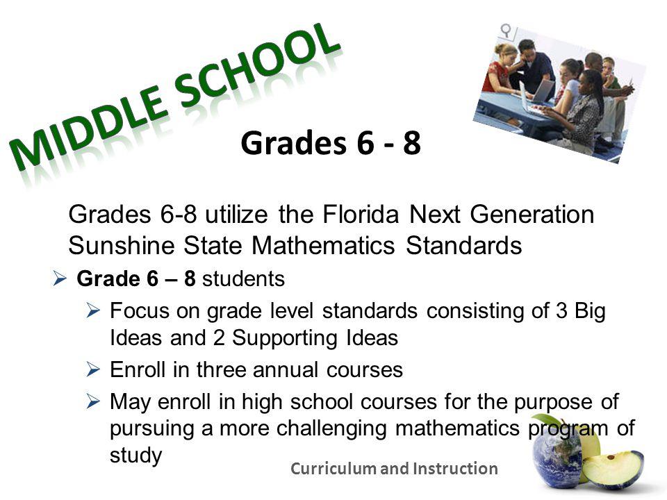 Middle School Grades 6 - 8. Grades 6-8 utilize the Florida Next Generation Sunshine State Mathematics Standards.