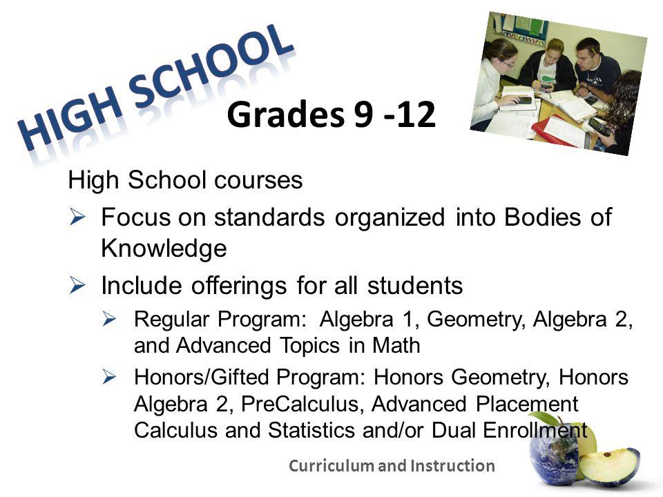 High School Grades 9 -12 High School courses