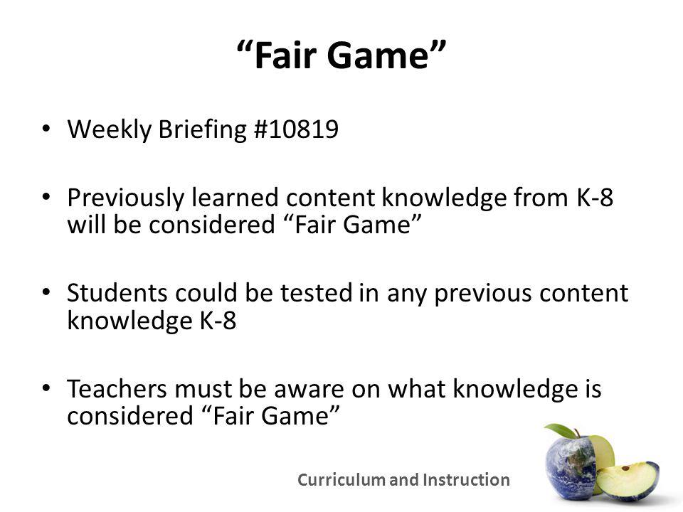 Fair Game Weekly Briefing #10819