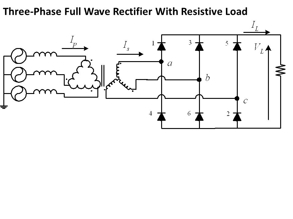 Three-Phase Full Wave Rectifier With Resistive Load