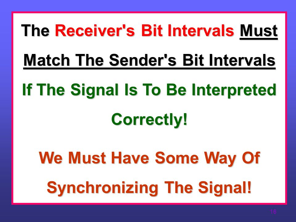 We Must Have Some Way Of Synchronizing The Signal!