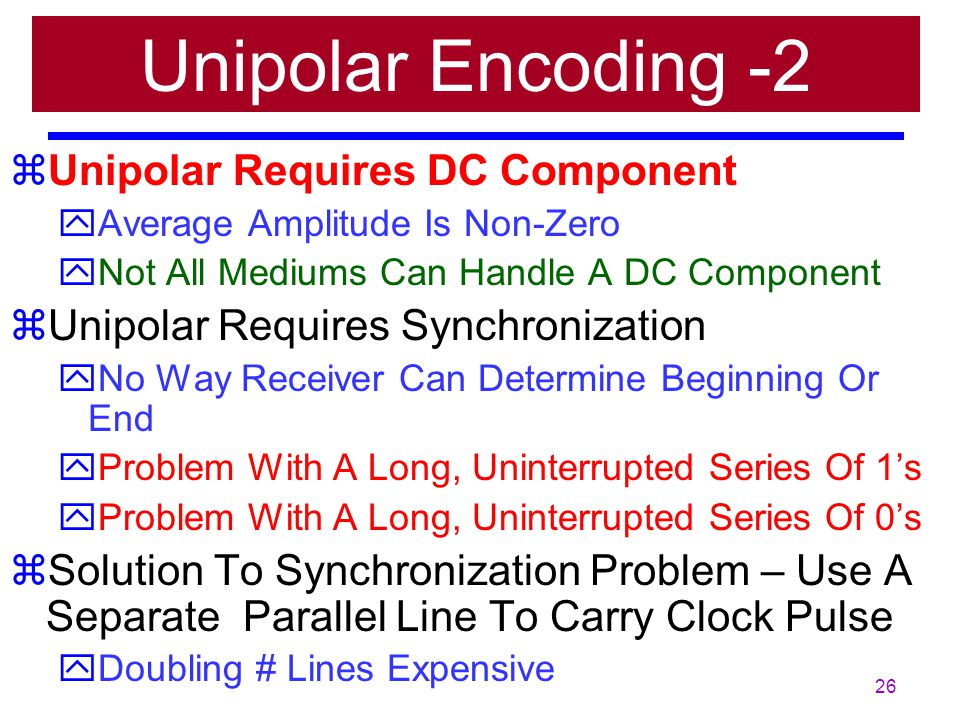 Unipolar Encoding -2 Unipolar Requires DC Component