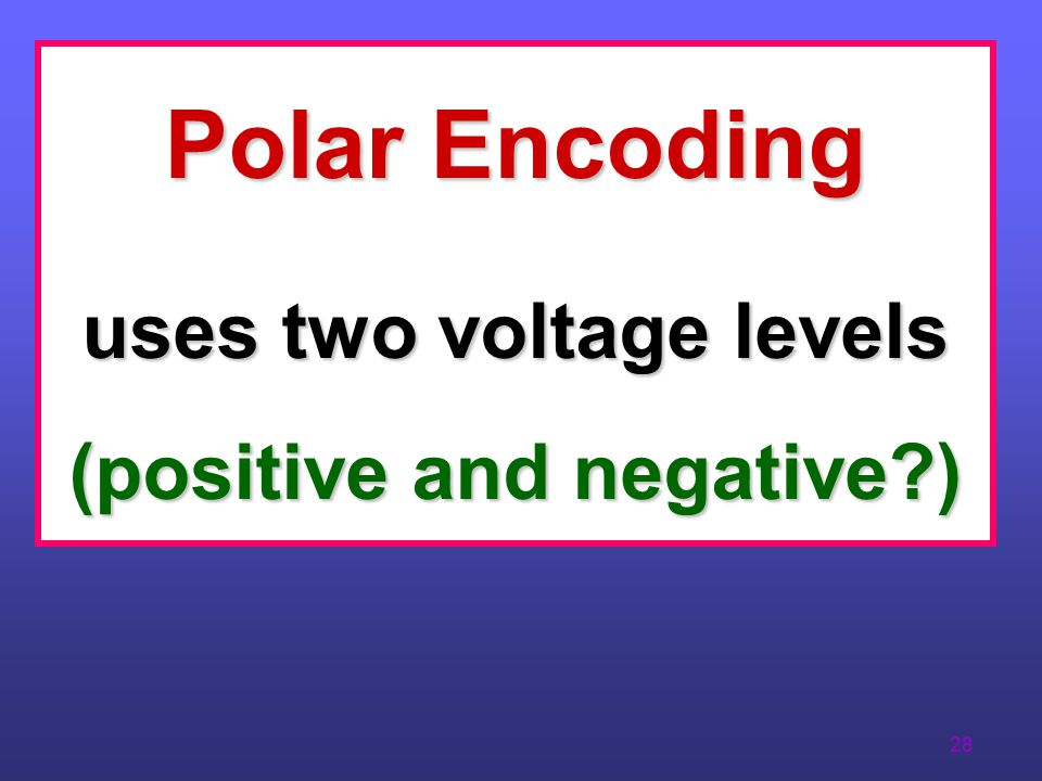 uses two voltage levels (positive and negative )