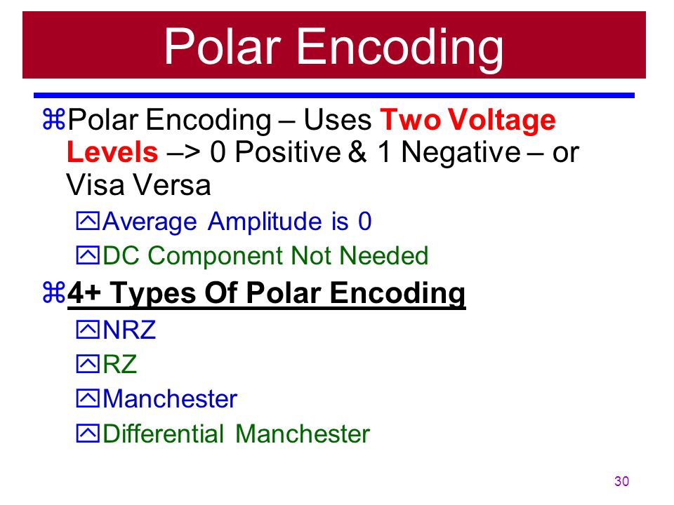 Polar Encoding Polar Encoding – Uses Two Voltage Levels –> 0 Positive & 1 Negative – or Visa Versa.