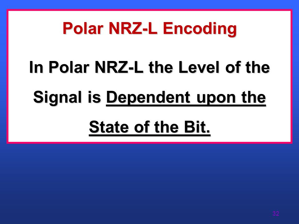 Polar NRZ-L Encoding In Polar NRZ-L the Level of the Signal is Dependent upon the State of the Bit.