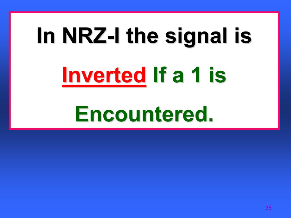 In NRZ-I the signal is Inverted If a 1 is Encountered.