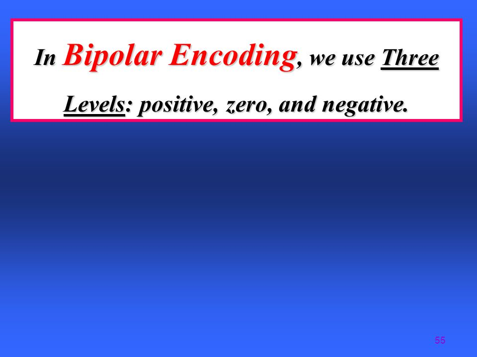 In Bipolar Encoding, we use Three Levels: positive, zero, and negative.